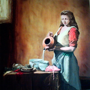"""Mennonite Milkmaid  30"""" x 30"""" Oil on Canvas"""