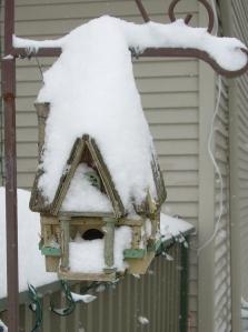 My birdhouse in the snow