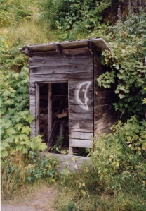 Outhouse photo taken on one of our trips through the Mountains