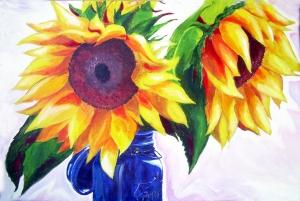 Sunflowers - acylic  by Carrie ©
