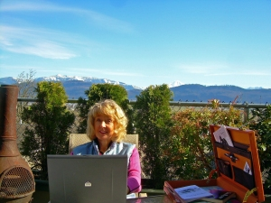 Carrie outside office - getting light therapy