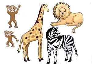 Giraffe lion cutouts